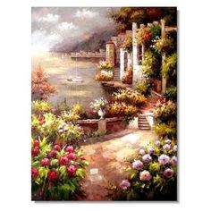 Solid-Faced Canvas Print Wall Art Print entitled Kings Manor Garden at East Hendred, Oxon Canvas Wall Art, Wall Art Prints, Poster Prints, Canvas Prints, Painting Canvas, Mediterranean Paintings, Mediterranean Decor, Manor Garden, Impressionist Landscape