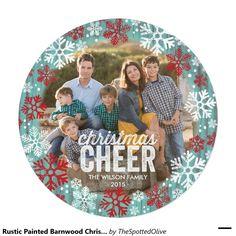 Rustic Painted Barnwood Christmas Cheer 2015 Invitation