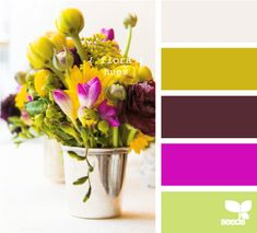 "flora hues - centerpiece idea with the bucket but different ""wild"" flowers in a bunch bouquet"