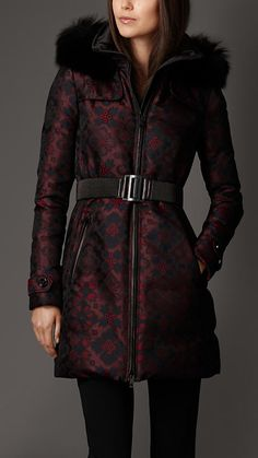 Silk Blend Down-Filled Coat With Fox Trim | Burberry