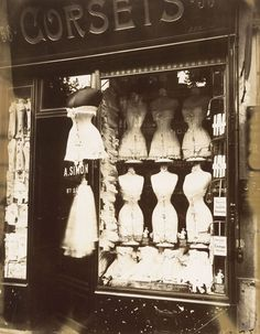 Eugéne Atget (French, 1857-1927), Boulevard de Strasbourg, Corsets, Paris; [Corset Shop], 1912, Albumen silver print from glass negative, 22.4 x 17.5 cm, The Metropolitan Museum of Art, Gilman Collection, Purchase, Ann Tenenbaum and Thomas H. Lee Gift, 2005 (2005.100.511).