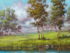 Greens in my Dream, Tim Gagnon, Original Acrylic on Canvas 18 x 24 Traditional Paintings, Contemporary Paintings, Leaf Art, Learn To Paint, Pictures To Paint, Fine Art Gallery, Landscape Paintings, Landscapes, Painting Inspiration
