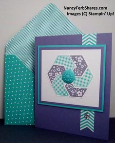 Order Stampin' Up! Card making ideas by Nancy Ferb using Stampin' Up!'s creative paper crafting products. Pretty Cards, Cute Cards, Diy Cards, Hexagon Cards, Hexagon Quilt, Patchwork Cards, Envelopes, Paper Quilt, Paper Piecing