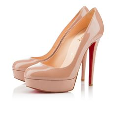 """Bianca"" has it all. Her sleek silhouette made up of a sensible platform, 140mm stiletto heel, and shallow round toe strike the perfect balance between sexy and sophisticated. A favorite among many in nude patent leather, ""Bianca"" transitions seamlessly from day to evening."