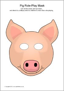 A simple printable mask for use in role-play or for retelling a story. Simply cut out the eyes and attach a lollipop stick as a handle. Farm Animal Crafts, Farm Crafts, Farm Animals, Animal Masks For Kids, Mask For Kids, Fairy Tales Unit, Pig Mask, Three Little Pigs, Farm Birthday
