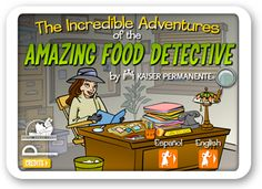 "Amazing Food Detective - An excellent game to wrap up a unit on healthy choices. Students are given several ""cases"" to solve. They help each kid make a healthier choice (like add more protein to your plate, find 4 low sugar snacks, or get more exercise)."
