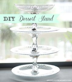 Okay so I know these DIY dessert stand/platters are nothing new but I'm excited to have FINALLY made my own! After a quick trip to the dollar store and a little… Tiered Dessert Stand, Tiered Stand, Dessert Plates, Diy Dessert Stands, Dessert Table, Cupcake Stands, Cupcake Display, Cake Table, Dessert Ideas