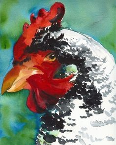 I love chickens and roosters, so this is right up my alley. GORGEOUS watercolors at this etsy shop.