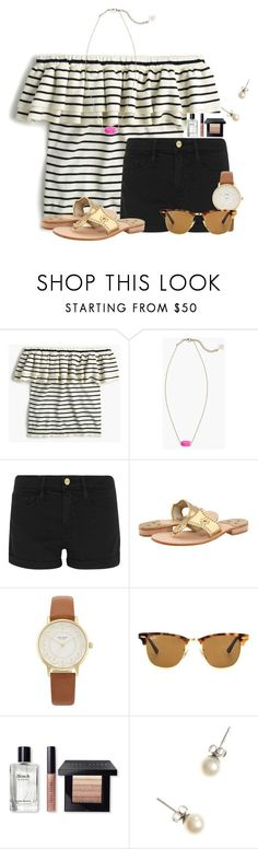 """""""Read the D for a devotional I wrote"""" by flroasburn ❤ liked on Polyvore featuring J.Crew, Kendra Scott, Frame, Jack Rogers, Kate Spade, Ray-Ban and Bobbi Brown Cosmetics"""