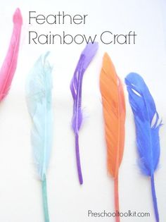 Feather Rainbow Craft for fine motor and color matching play