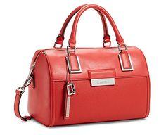 Calvin Klein Valerie Sleek Barrel Satchel Bag Handbag Cerise