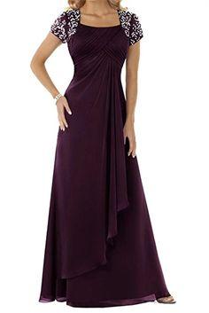 Ainidress Damen Elegant Langes Chiffon Abendkleider Brautmutterkleider  Cocktail Kleid Mit Perlen  Amazon.de  Bekleidung 22166891f8