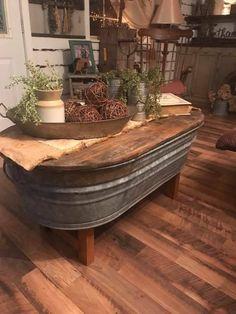 Old washtub turned table!