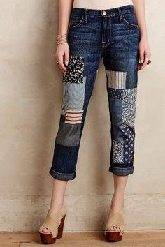 Siga el Patchwork Jeans Trend www. Patch Jeans, Patchwork Jeans, Sewing Clothes, Diy Clothes, Clothes For Women, Clothes Refashion, Jeans Refashion, Jean Diy, Denim Fashion