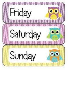 Days of the week owl theme free preschool classroom themes, owl classroom decor, classroom Owl Classroom Decor, Preschool Classroom Themes, Classroom Labels, Free Preschool, Kindergarten Classroom, Preschool Activities, Classroom Ideas, Classroom Teacher, Owl Parties
