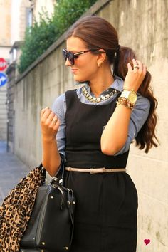 preppy revamped I love how she layered a chambray under a lbd and pulls it together with the belt and necklace.
