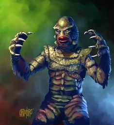 13 Nights 2009 has begun! Night one is the Creature from the Black Lagoon aka Gill Man. 13 Nights 2009 The Creature Horror Monsters, Scary Monsters, Famous Monsters, Monster Drawing, Monster Art, Monster Movie, Beetlejuice, Dragons, Halloween Artwork
