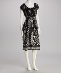 Take a look at this Black Floral Dress by Studio West on #zulily today!