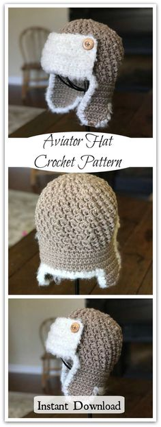 This adorable crocheted aviator hat is completely made from bluky yarn. It is much easier to make than it looks and is great for a photo prop or to keep everyone warm from the newborn to the adult in your life. #ad #affiliate #crochet #pattern