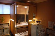 Sauna and personal wellness center in your own home Infared Sauna, Wooden Hut, Sauna Design, Cabin Bathrooms, Steam Bath, Shower Cabin, Personal Wellness, Sauna Room, Relaxation Room
