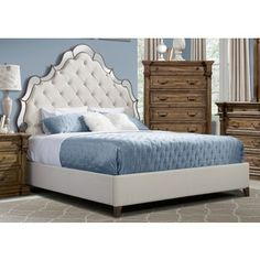 Venetian Mirrored Upholstered Bed | Overstock.com Shopping - The Best Deals on Beds