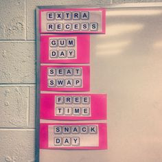 """Classroom reward system- If the class shows great behavior, they will get to color in a letter tile of their choice. When every tile is colored in, the students will win that specific award. I just googled """"Scrabble Font"""" and downloaded it for free. :)"""