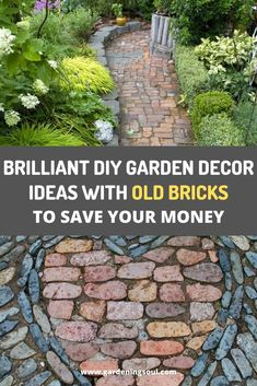 I guarantee that you'll find something that will help you to use up those old bricks, and spruce up your outdoors at the same time. Garden Pavers, Brick Garden, Farmhouse Landscaping, Backyard Landscaping, Landscaping Ideas, Brick Projects, Fun Projects, Garden Projects, Diy Garden Decor