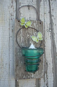 Rustic Recycled Insulator Candleholder Birdfeeder Recycled Art