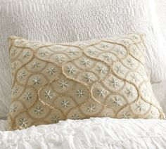 Star Embroidered Lumbar Pillow Cover