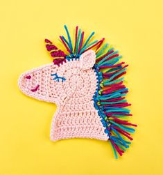Crochet unicorn patch // Let's Get Crafting, issue 100 // Image: cliqq.co.uk