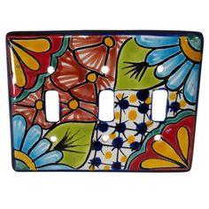 Talavera Triple Switch #metalswitchplatesdecorative