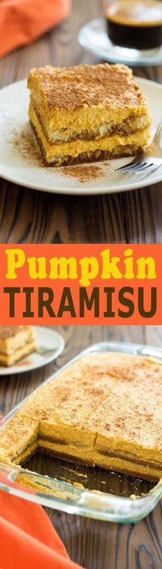Pumpkin Tiramisu turns your favorite latte into the perfect Fall dessert! Espresso, ladyfingers and pumpkin spice custard magic!
