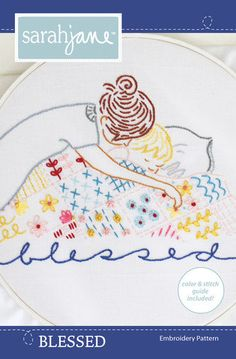 Embroidery Pattern PDF Blessed by sarahjanestudios on Etsy