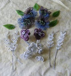 Vintage French Glass Bead Flowers