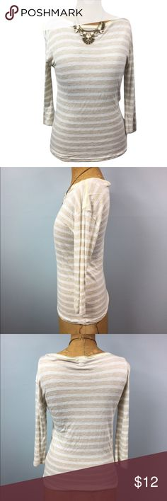 Sz XS J Crew 3/4 Tee! Lower your shipping and get a discount by bundling items from my closet!!                                                                   Lightweight, thin t-shirt by J. Crew. Colors are tan and cream stripes with lime green stitching on the neckline. Sleeves are 3/4 length. Top looks great paired with jeans, combat boots and a vest! J. Crew Tops Tees - Long Sleeve