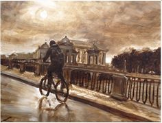 """""""Cityscape with a cyclist"""" painting by Elena Sokolova. Checkout her work at  #OilPainting #Cityscape #canvas"""
