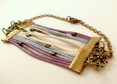 Double Waxed Cords Bracelet Antiqued Brass Chain by PauwowHandmade, $18.00