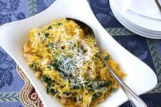 I love spaghetti squash! Spaghetti Squash Recipe with Spinach, Feta & Basil White Beans by CookinCanuck Spinach Recipes, Vegetarian Recipes, Cooking Recipes, Healthy Recipes, Pasta Recipes, Healthy Meals, Yummy Recipes, Side Recipes, Amazing Recipes