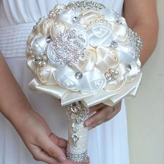 """HOT PRICES FROM ALI - Buy """"Kyunovia Best Price White Ivory Brooch Bouquet Wedding Bouquet de mariage Wedding Bouquets Pearl Flowers buque de noiva from category """"Weddings & Events"""" for only USD. Crystal Bouquet, Wedding Brooch Bouquets, Flower Bouquet Wedding, Bridesmaid Bouquet, Crystal Brooch, Beaded Brooch, Pearl Bouquet, Crystal Rhinestone, Broch Bouquet"""
