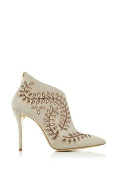 Elkin Crystals Bootie In Khaki Suede by Oscar de la Renta for Preorder on Moda Operandi