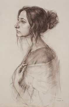 Russian Academy of Art, female face portrait profile drawing.