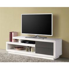 Meuble TV bas design blanc et 2 tiroirs gris