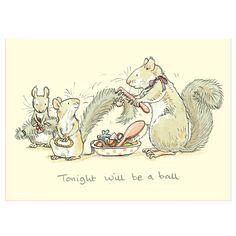 M247 TONIGHT WILL BE A BALL- Two Bad Mice card by Anita Jeram www.twobadmice.com