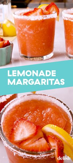 You'll Be Drinking Strawberry Lemonade Margaritas All Summer LongDelish The Effective Pictures We Offer You About people Drinks A quality picture can tell you many things. You can find the most beauti Party Drinks, Fun Drinks, Mixed Drinks, Beverages, Camping Drinks, Margarita Recipes, Cocktail Recipes, Margarita Tequila, Refreshing Drinks