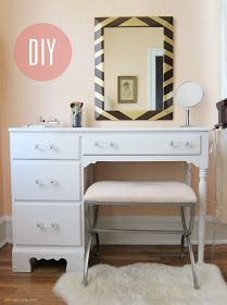Repurpose old desk into cute vanity; gloss paint & retro pulls. Love this!
