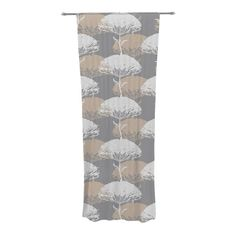 "KESS InHouse Julia Grifol ""Charming Tree"" Decorative Sheer Curtains, 30 by 84-Inch, grey #flowers #pattern #design #wall #panel #kessinhouse"