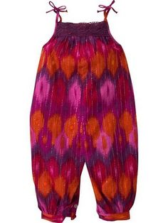 Pink and orange ikat romper from the Gap.
