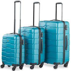 b0dc4444679a Cheap VonHaus Premium 3 Piece Lightweight Luggage Set – Teal Hardshell Travel  Suitcase with TSA Integrated Lock