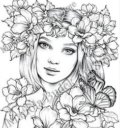 Lady Spring Mariola Budek Premium Coloring PageYou can find Physics and more on our website.Lady Spring Mariola Budek Premium Coloring Page Fairy Coloring Pages, Adult Coloring Book Pages, Coloring Pages To Print, Printable Coloring Pages, Coloring Books, Kreative Portraits, Free Adult Coloring, Kids Coloring, Digital Stamps