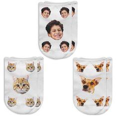 Custom Printed People or Pet Photo Socks No Show Novelty Socks Printed with Photos Fun Socks for Gift Giving Custom Dog Sock and Cat Socks Dog Socks, Custom Socks, Thing 1, Animal Faces, No Show Socks, Novelty Socks, Favorite Person, Custom Photo